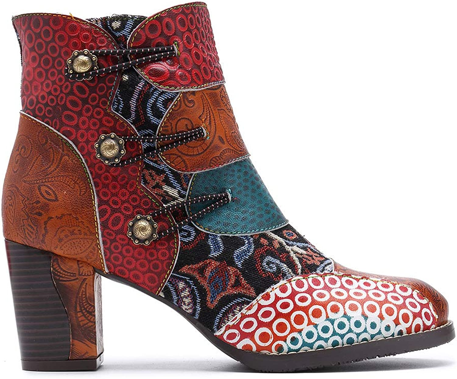 Women's Ankle Boots Casual Oxford Boots, High Block Heel Booties Fashion National Style Warm Boot with Bohemian Splicing Pattern