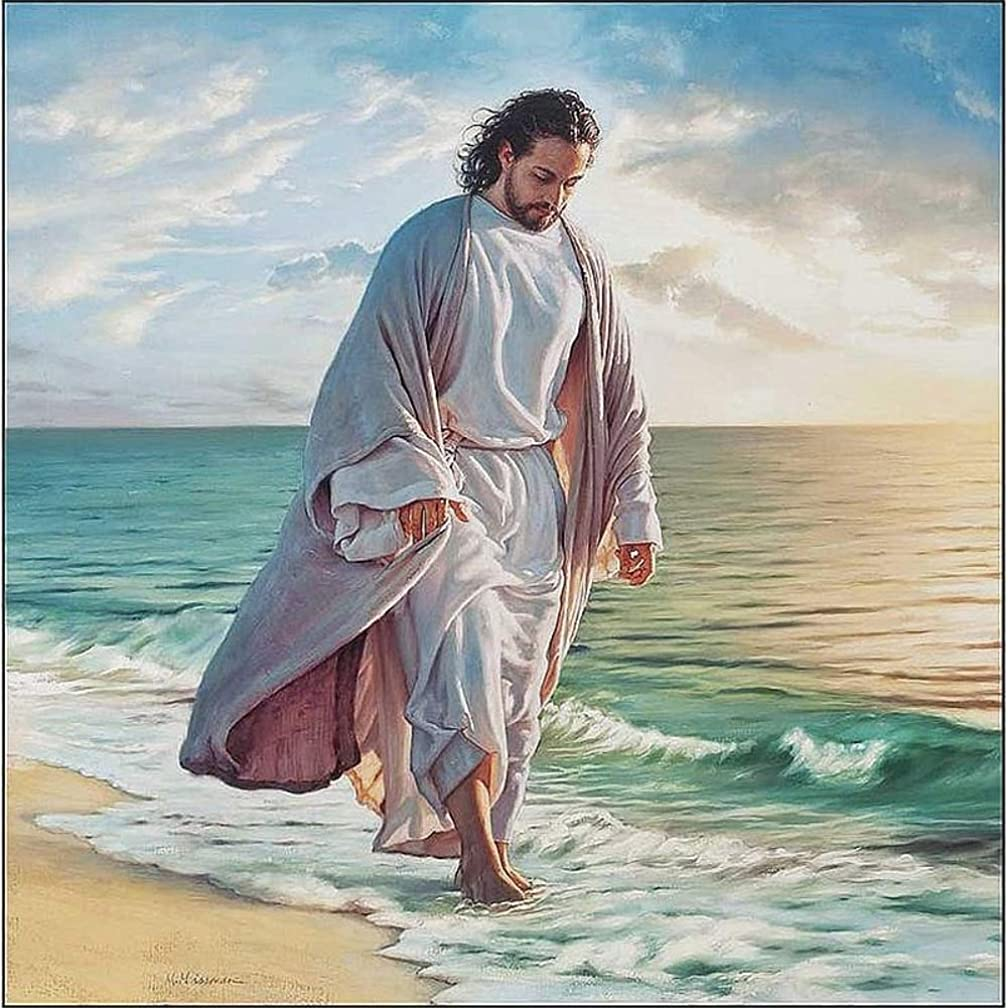 DIY 5D Diamond Painting Kit for Adults Children, NYEBS 5D DIY Diamond Painting Full Square Drill Jesus is Walking On The Beach Rhinestone Embroidery for Wall Decoration 16X16 inches (Full Drill)
