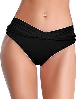 SHEKINI Fondo Bikini per Donna A Vita Media Triangolo Classico Slip Bikini Frontale Ruched Tronco da Nuoto Copertura Moder...
