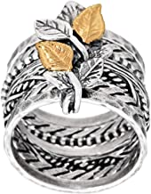 PAZ Creations .925 Sterling Silver Multi-Band Ring with 14K Gold Leaves