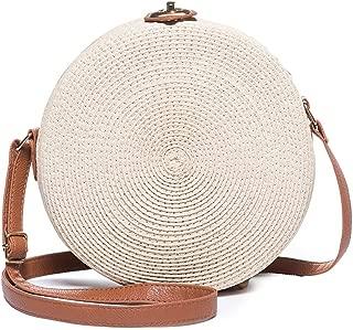 JOSEKO Straw Round Crossbody Bag, Women Weave Shoulder Bag Vintage Retro Straw Knitted Messenger Bag Lady Summer Beach Handbags