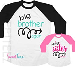 Big Brother Again Big Sister at last Shirt Set Shirt Black Raglan Matching Shirts Gift Pregnancy Announcement