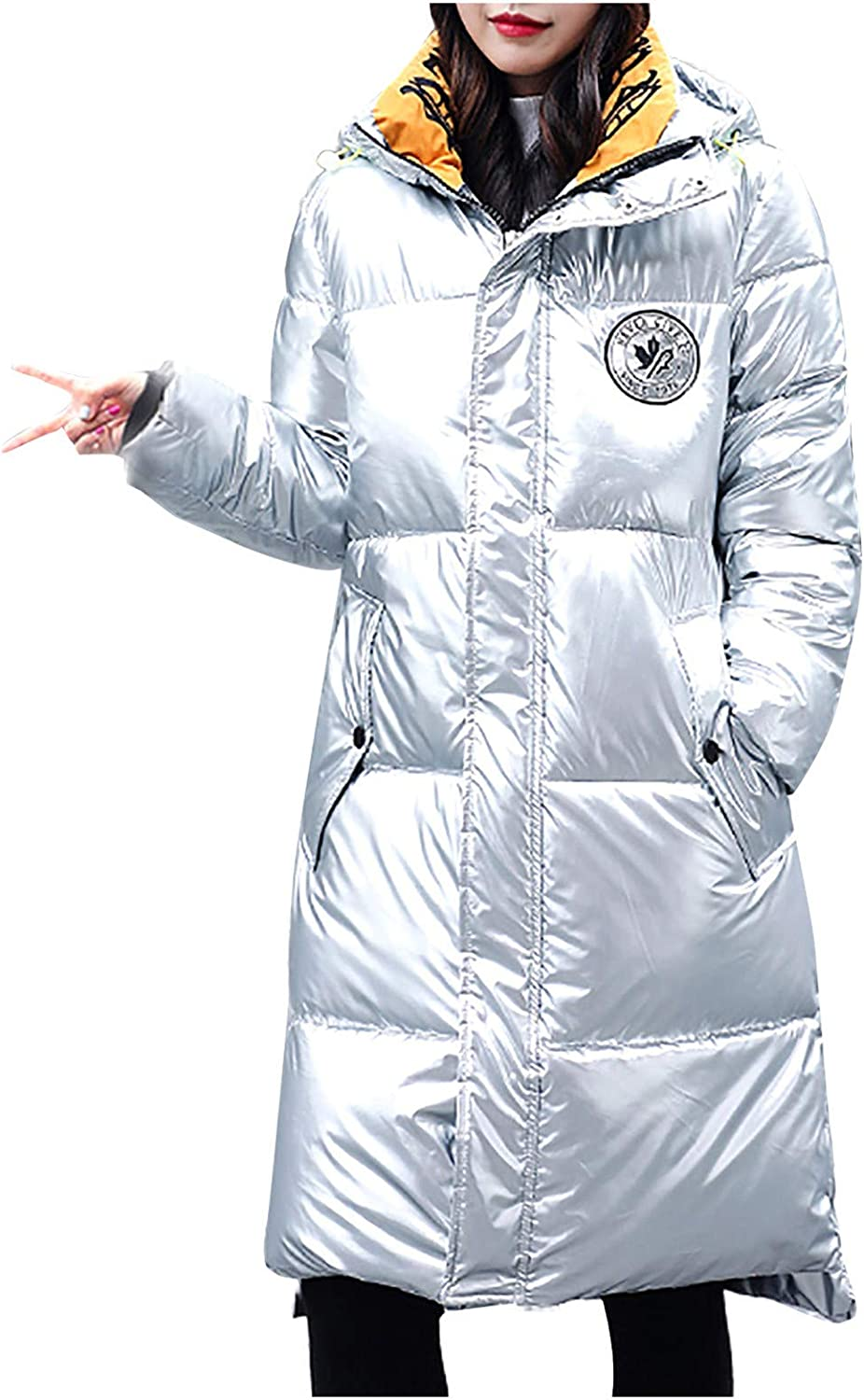 Giulot Women's Down Puffer Jacket Classic Long Quilted Parka Hooded Jackets Ultra Lightweight Metallic Shiny Warmth Outerwear