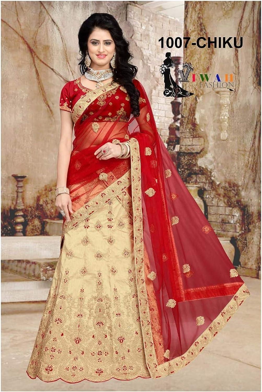 Bridal Indian Pakistani Women's Heavy Embroidered Net Designer Lehenga Choli