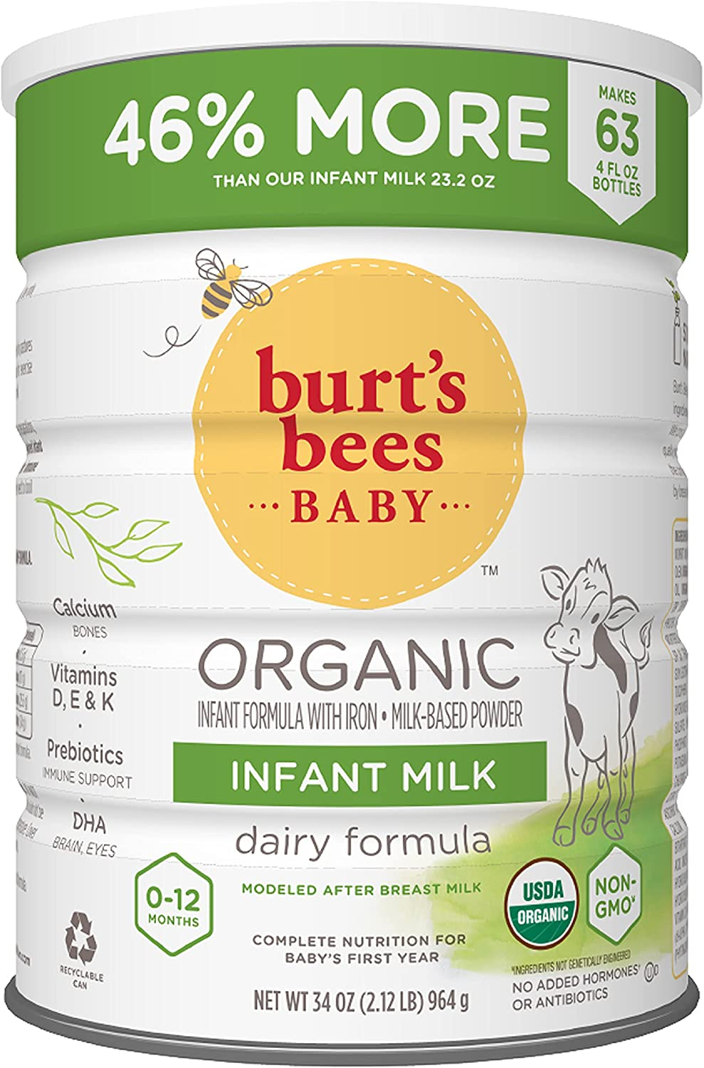 All stores are sold Burt's Bees Baby Organic Infant Milk overseas Iron 34 Formula with Oz