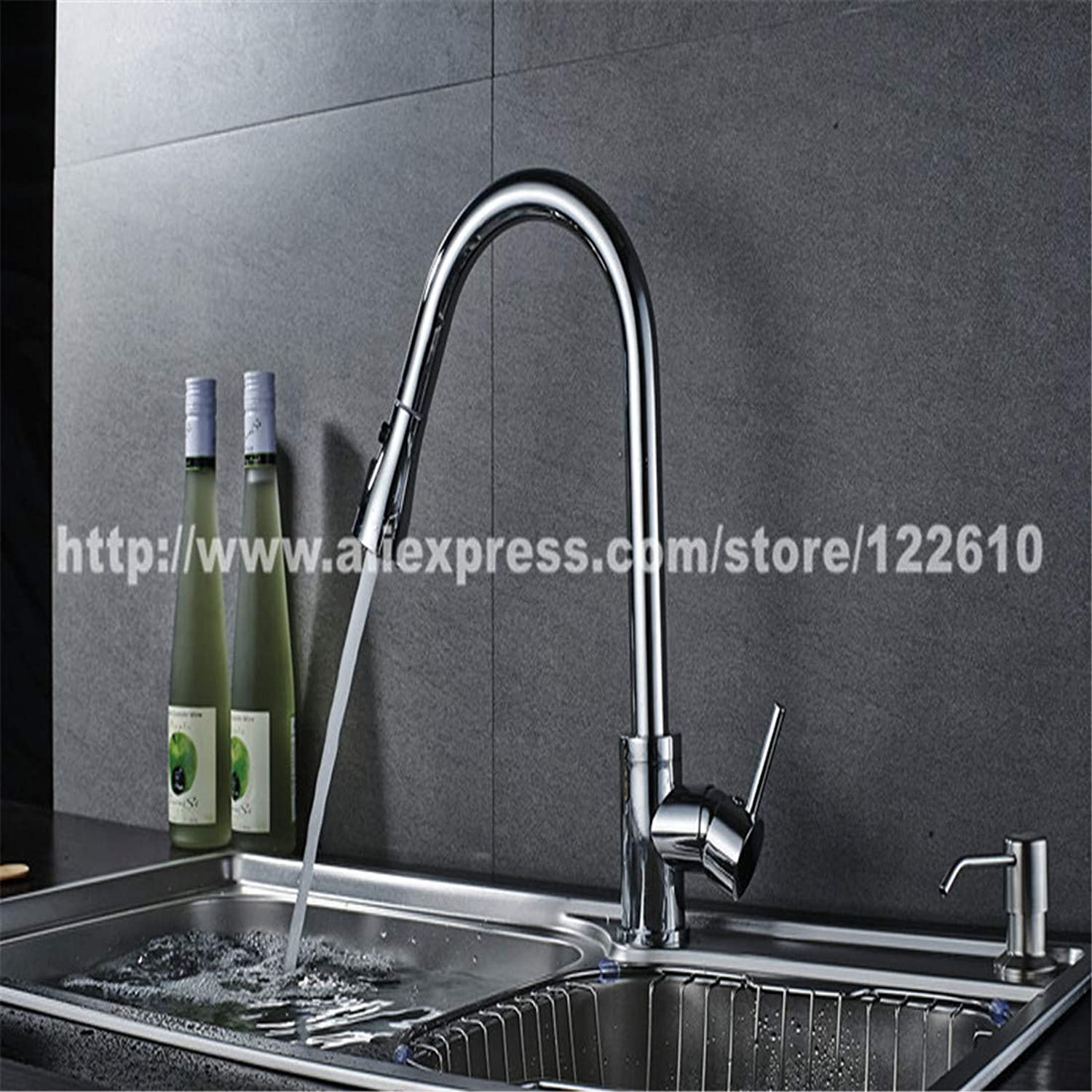 Kitchen Bath Basin Sink Bathroom Taps Silver Single Handle Kitchen Faucet Mixer Pull Out Kitchen Tap Single Hole 3 Function Copper Chrome Swivel Sink Mixer Tap Ctzl6409