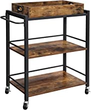 VASAGLE Bar Cart, Kitchen Serving Cart with Removable Tray, Utility Cart with Wheels and Handle, Universal Casters with Br...