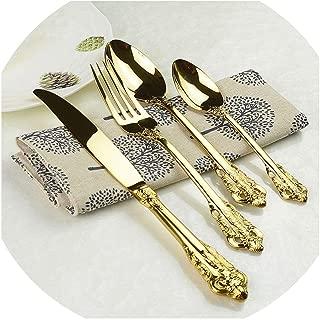 Vintage Western Gold Plated Cutlery 24pcs Dining Knives Forks Teaspoons Set Golden Luxury Dinnerware Engraving Tableware Set,1set 24pcs