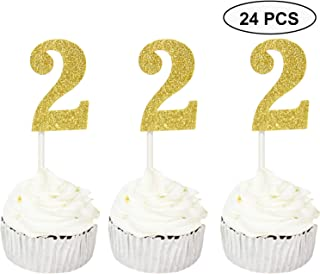 Sumerk 24PCS Number 2 Cupcake toppers Gold Glitter 2nd Birthday Cupcake Picks Anniversary Party Decorations