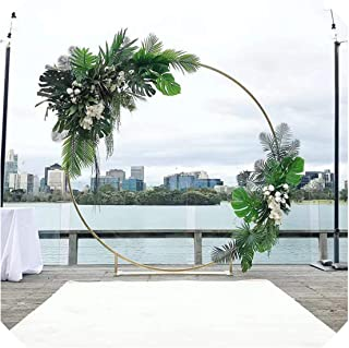 3Pcs Flower Balloon Metal Rack Circle Wedding Arch Background Wrought Iron Shelf Decorative Party Backdrops Metal Props,Gold