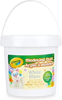 Crayola Modeling Clay, White, 14.8 Ounce Resealable Bucket Non-Toxic Art Tool for Kids 4 & Up, Traditional Modeling Clay for Art Projects, Great for Sculpting, Soft Pliable Clay Won't Dry Out