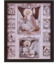 Handicraft Store Gurunank dev ji and Guru gobind Singh ji with Eight Other guru's, Paper Poster with Frame, Must for Family Home/Office on Occasion