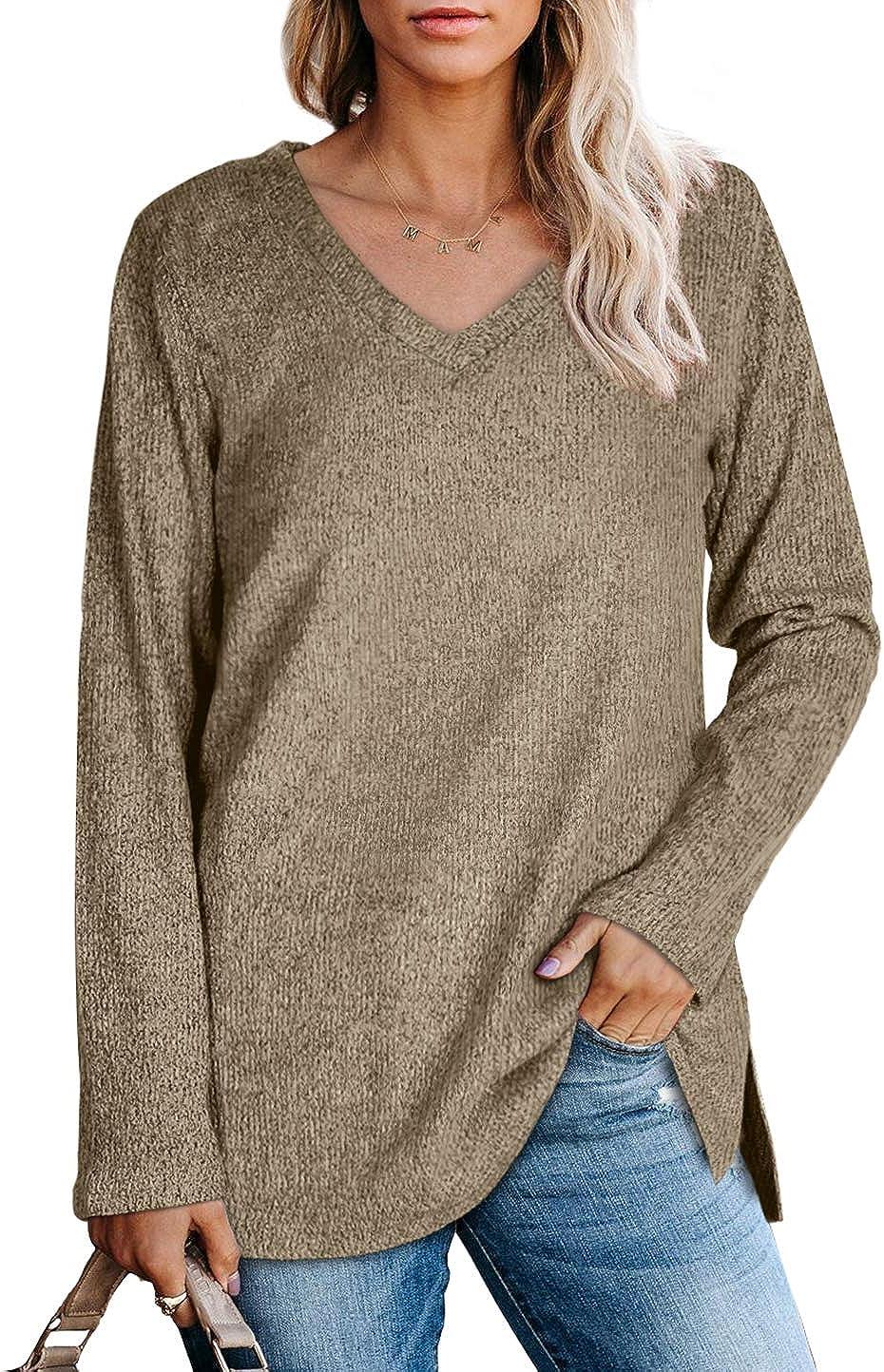 SAMPEEL Long Sleeve Shirts for Women Long Tunic Tops for Leggings Loose Fit
