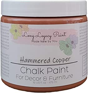 Long Legacy Paint - Chalk Paint Finish - Furniture - Cabinets - Home Decor - Arts & Crafts Paint (16 oz, Hammered Copper)