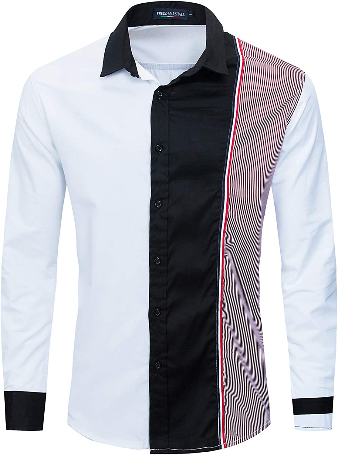 FREDD MARSHALL Men's Casual Slim Fit Long Sleeve Button Down Patchwork Shirts