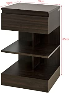 SoBuy® FBT49-BR Table de Chevet Table d'appoint Bout de Canapé avec 1 tiroir et 2 étagères de Rangement