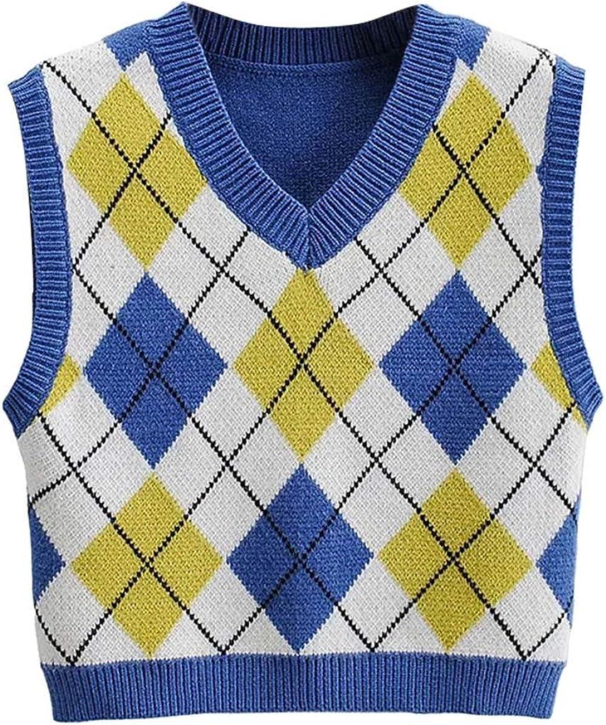 Hemlock Women Plaid Vest Sweater Tops Sleeveless Vest Coat Cropped Knitting Tops Teen Girls Sweater Vest Tank Tops