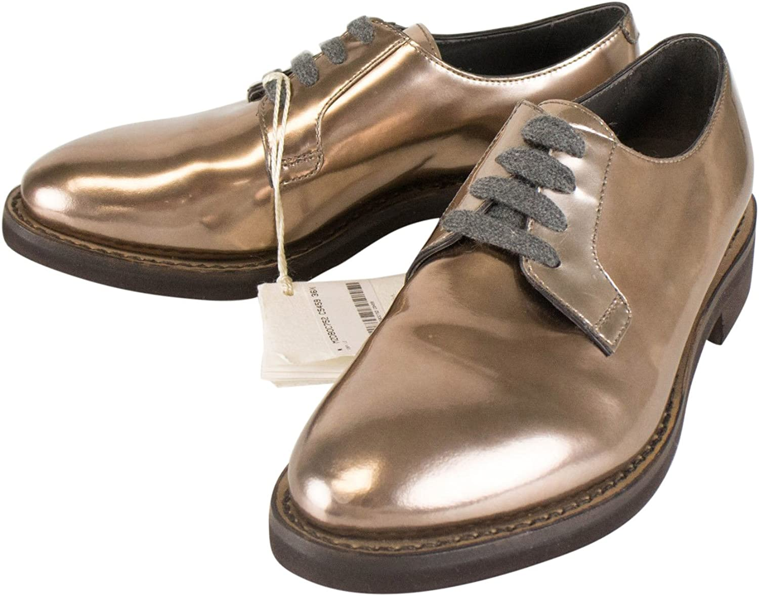 Brunello Cucinelli Brown Patent Leather Oxford shoes Size 36.5 6.5