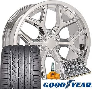 OE Wheels 22 Inch Fit Chevy Silverado Tahoe GMC Sierra Yukon Cadillac Escalade Deep Dish CV98 Chrome 22x9.5 Rims Goodyear Eagle All Season Tires Lugs TPMS Hollander 5668 SET