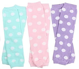 3 Pair Baby Girl Leg Warmers Aqua Polka Dot, Powder Pink Polka Dot, Lavender Polka Dot