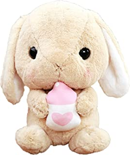 Collocation-Online Stuffed Bunny Doll Plush White Baby Rabbit Red Carrot Sleeping Toy Present for Kids,45cm,Light Brown