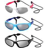 3 Sets Kids Sunglasses Children Sports Sunglasses with Rubber Strap for Boys and Girls Daily Wear