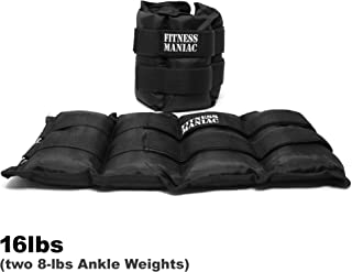 FITNESS MANIAC New Ankle Weight Adjustable Strap Wrist Weights 16 Lbs (2 X 8 Lbs) Heavy Ankle Weights (Shipping from USA)