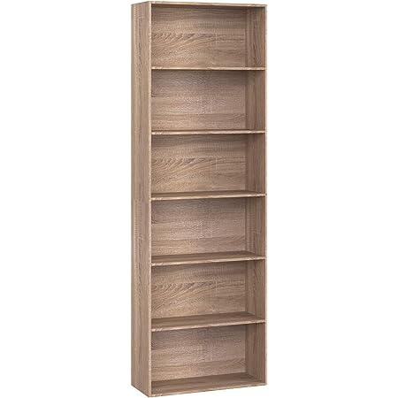 Nero Homfa Scaffale Libreria Mobile Soggiorno in Legno Mobile per Archiviazion Carico 30 kg 60x23.5x180cm