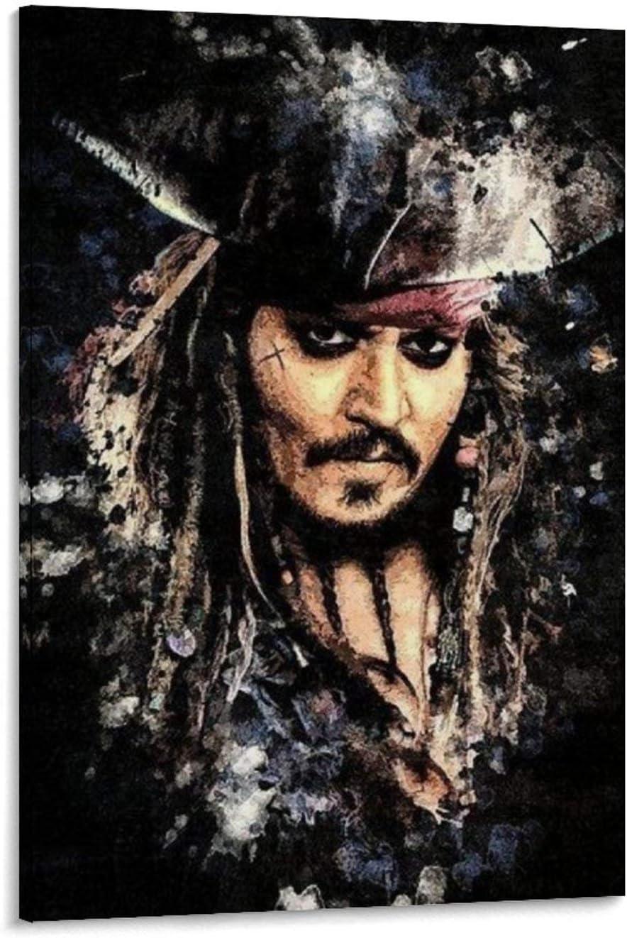 Jack Sparrow Lienzo art/ístico para pared y arte de pared p/óster moderno para decoraci/ón de dormitorio familiar 20 x 30 cm SHEFEI 6579-Captain Johnny Depp