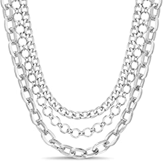 Nautica Three Pair Set Row Curb Rolo Paperclip Chain Necklace Set for Women