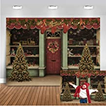 Mocsicka Christmas Shop Backdrop 7x5ft Christmas Street Party Decorations Banner Photo Studio Prop Christmas Tree Toys Photography Backdrops for Picture