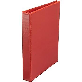 AmazonBasics 1-Inch Round Ring Binder, Red, View, 4-Pack