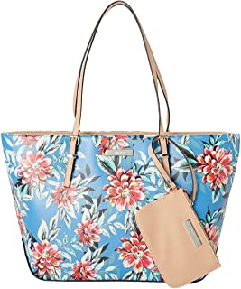 It Girl Isadore Tote with Detachable Pouch (Blue Floral)
