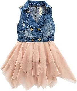 Little Girls Jean Dresses Denim to Mesh Layer Casual Vest Jacket Dress