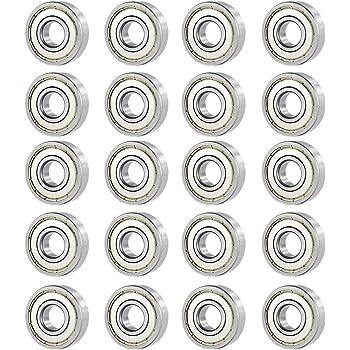 Senmod 20Pcs MR83ZZ 3x8x3mm Miniature Metal Steel Rolling Bearing Double Shielded Deep Groove Ball Bearing