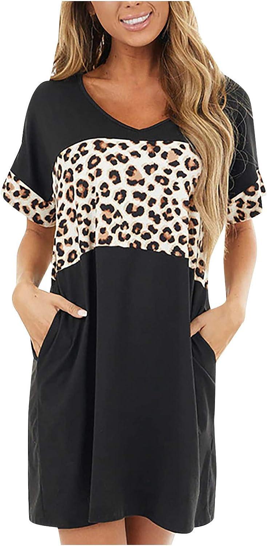 Womens Summer Dresses Loose security Short Department store Women Pocket Sleeve for Dress