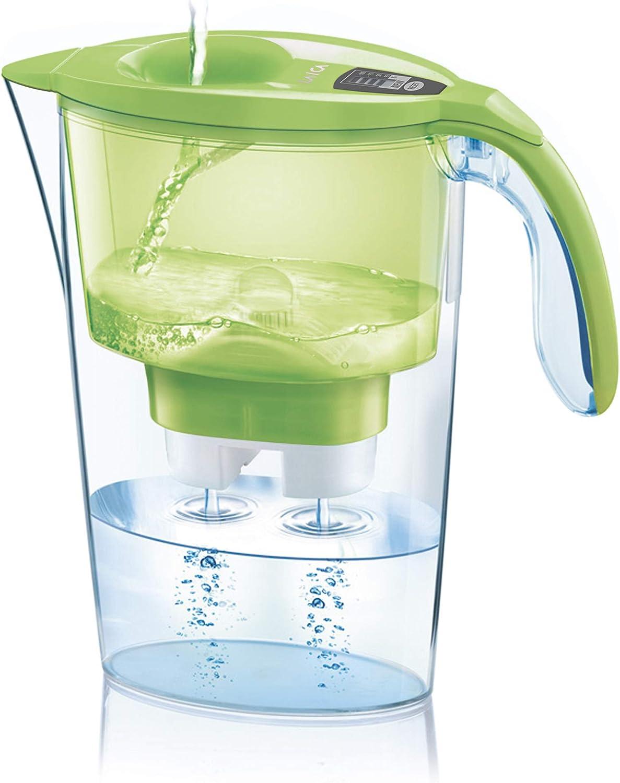 Jarra para filtrar el agua del grifo y mejorar su sabor- Laica STREAM LINE J31-AB color verde capacidad 2,3 litros, incluye 1 filtro bi-flux que reduce la cal y el cloro y dura 150 litros o 1 mes.