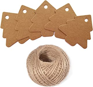 Christmas Tree Gift Tags,Gift Wrap Tags,100 Pcs Kraft Paper Gift Tag with String,Blank Craft Gift Tag with 100 Feet Natural Jute Twine