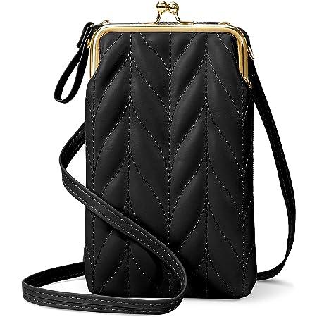 takyu Handytasche zum Umhängen, kleine Crossbody Bag Geldbörse Umhängetasche Damen mit Kartenfächer für Handy unter 6.3 Zoll (Schwarz)