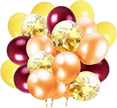 Fall Balloons by Qian's Party Fall Party Decorations Thanksgiving Decorations 20pcs Burgundy Orange Yellow Gold Confetti B...