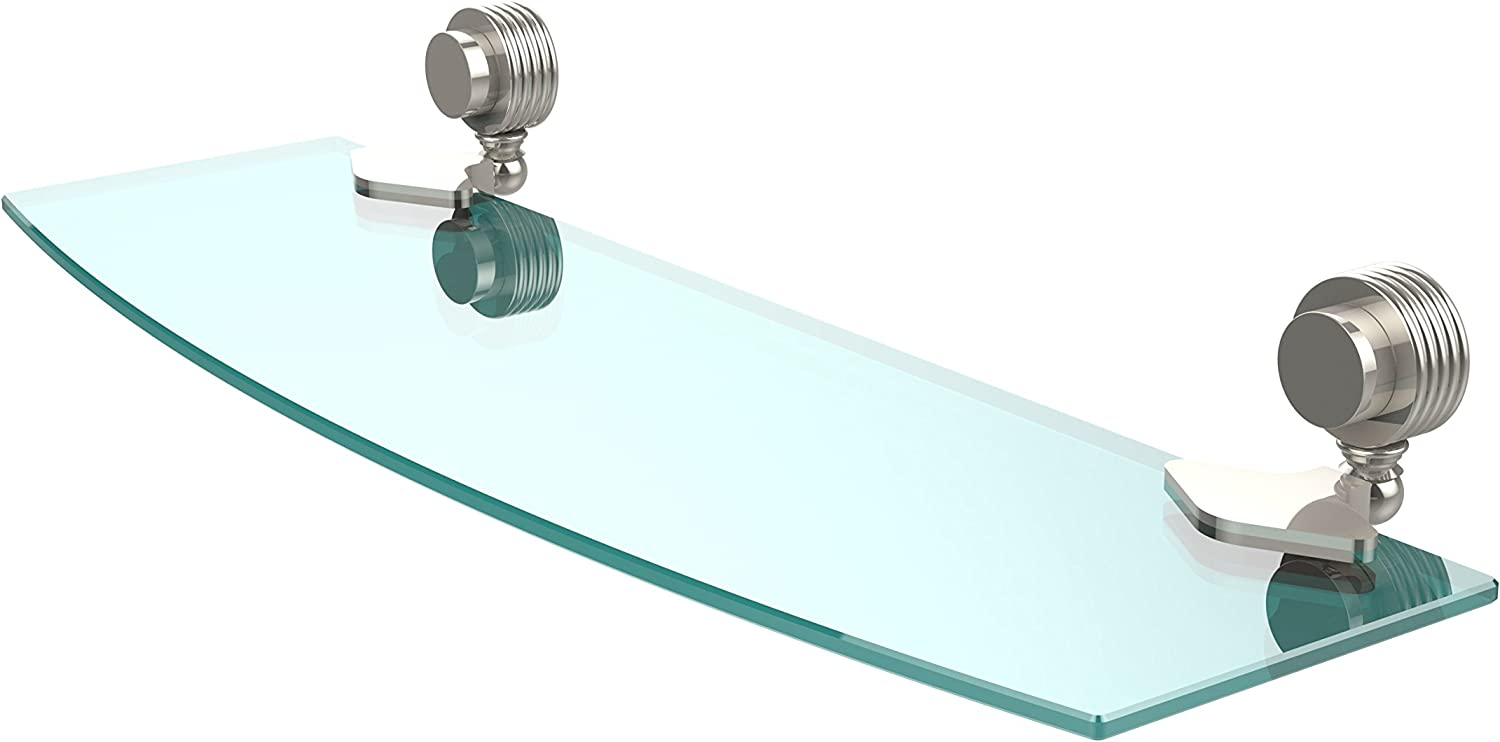 Allied Brass 433G 18-PNI Venus Collection 18 Inch Glass Shelf with Groovy Accents, 18-Inch by 5-Inch, Polished Nickel