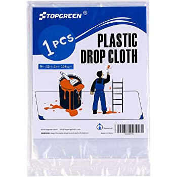 TOPGREEN Plastic Drop Cloth for Painting 9 Feet by 12 Feet Painters Plastic sheeting Plastic Tarp for Furniture Plastic Moving Covers Waterproof