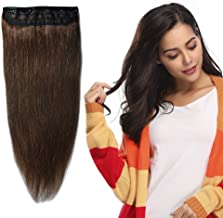 100% Remy Clip in Human Hair Extensions 16-22inch Natural Hair Grade 7A Quality 3/4 Full Head 1 Piece 5 Clips Long Thick Soft Silky Straight for Women Beauty 20