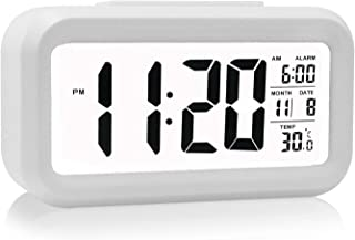 Oneoffcar Alarm Clock,Travel Alarm Clock,Battery Operated Smart Backlight Alarm Clock, Large LCD Display Slim LED Clock (with Date,Temperature,Snooze), for Office Bedroom Travel(White)