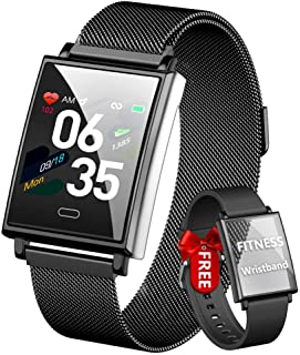HOFIT Reloj inteligente para hombre Fitness Tracker, reloj inteligente impermeable IP68, reloj de presión arterial, pulsómetro, podómetro y 2 correas