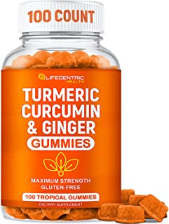 Turmeric Gummies for Adults and Kids | Max Strength Anti Inflammatory Turmeric and Ginger Gummies Supplement | Vegan Organ...