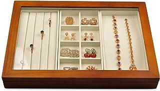"""Oirlv الخشب الصلب 4 """"واحد متعدد الوظائف مجوهرات درج صندوق منظم خزانة مجوهرات مع غطاء أكريليك شفاف خزانة خزانة خزانة درج ال..."""