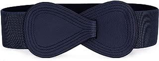 Allegra K Interlock 8-shaped Faux Leather Buckle Elastic Belt for Lady
