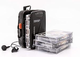 GPO Reproductor/Grabador Personal de Casete Retro con Altavoces y micrófono incorporados, Radio FM, Jack 3.5mm, Auriculares incluidos - Negro