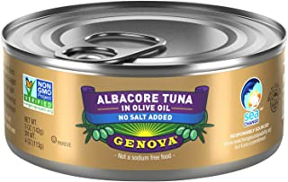 Genova Premium Albacore Tuna in Olive Oil, Low Sodium, Wild Caught, Solid White, 5 oz. Can (Pack of 12)
